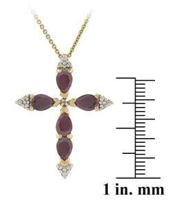 Glitzy Rocks Diamond Accent Ruby Cross Pendant