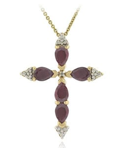 Glitzy Rocks Diamond Accent Ruby Cross Pendant