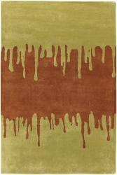 Hand-tufted Green New Zealand Wool Mandara Rug (5' x 7'6) - Thumbnail 1
