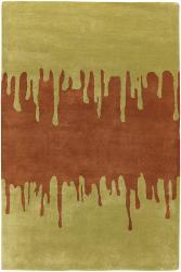 Hand-tufted Green New Zealand Wool Mandara Rug (5' x 7'6) - Thumbnail 2
