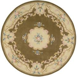 Nourison Hand-tufted Cocoa Floral Wool Rug (7 x 7) Round