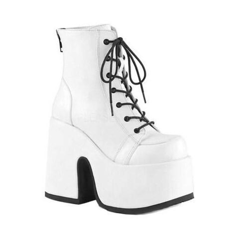 Women's Demonia Camel 203 Platform Ankle Boot White Vegan Leather