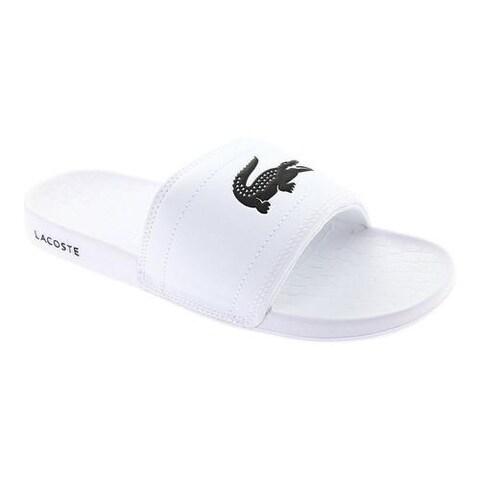Men's Lacoste Frasier Slide Sandal White/Black Synthetic