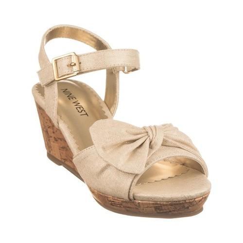 Girls  Nine West Kids Nathaliah Wedge Sandal Gold Metallic Linen - Free  Shipping On Orders Over  45 - Overstock - 27862598 c89004ec1b85