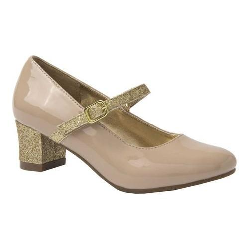 5717620534b Shop Girls  Nine West Kids Patrece Mary Jane Pump Nude Patent Gold Glitter  - On Sale - Free Shipping On Orders Over  45 - Overstock - 22205902