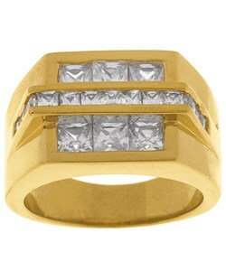 Simon Frank 14k Gold Overlay Bridge  CZ Ring