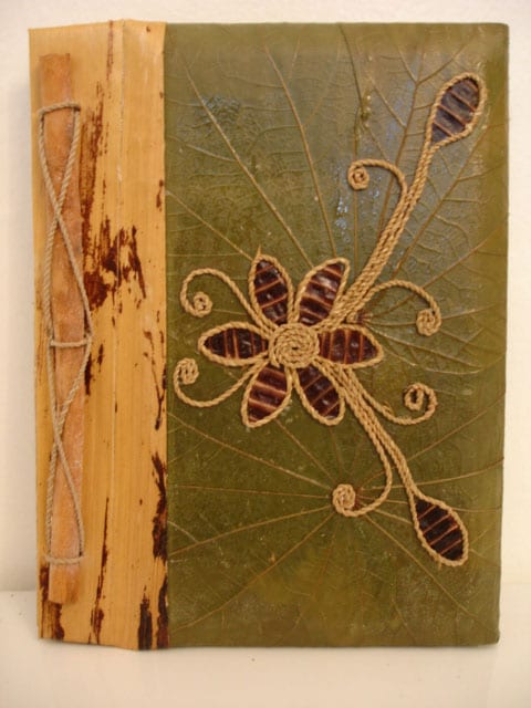 Green/Brown Rayon from Bamboo/Leaf Pea Pod Flower Photo Album (Indonesia)