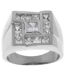 Simon Frank 14k White Gold Overlay Men's Square CZ Ring