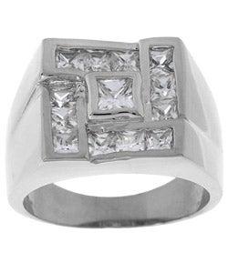 Simon Frank White Gold Overlay Men's Square CZ Ring
