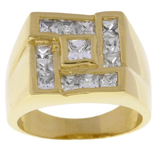 Simon Frank 14k Yellow Gold Overlay Men's Cubic Zirconia Square Ring