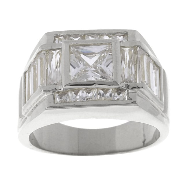 Simon Frank 14k White Gold Overlay Men's Beau CZ Ring