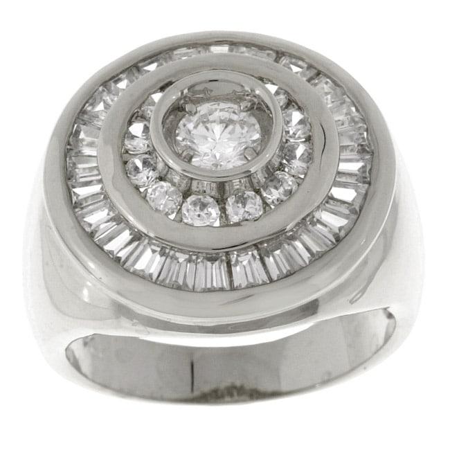 Simon Frank White Gold Overlay Men's Swirl CZ Ring (12)