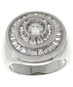 Simon Frank 14k White Gold Overlay Men's Swirl CZ Ring