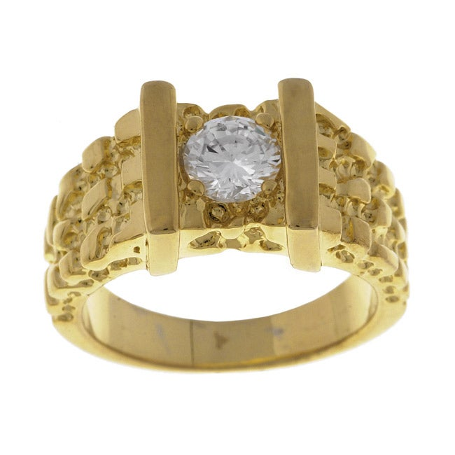 Simon Frank 14k Yellow Gold Overlay Men's Nugget CZ Ring
