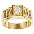Simon Frank 14k Gold Overlay Men's Crown CZ Ring