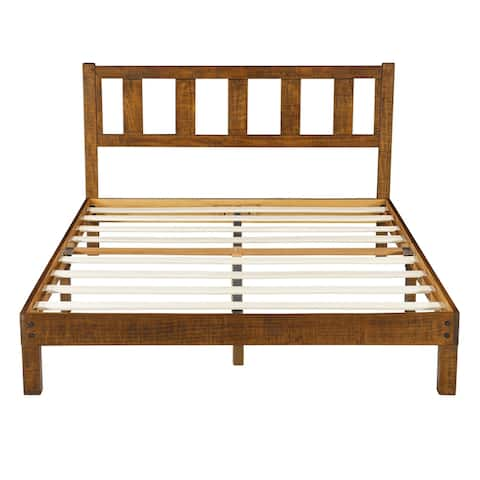 Sleeplanner 14 Inch Solid Wood Platform Bed Frame with Headboard