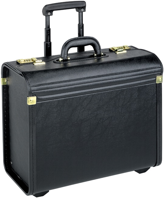 Solo Black Vinyl Rolling Catalog Case with Telescoping Handle
