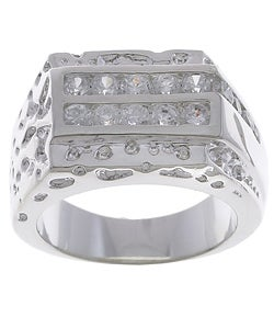 Simon Frank 14k White Gold Overlay Men's CZ Ring