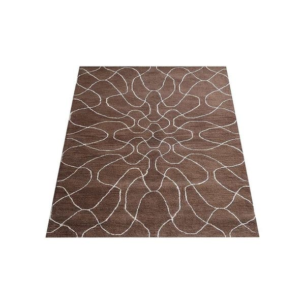 Hand Tufted Wool Contemporary Area Rug Rectangle Brown Beige 5 X 8 Overstock 26030436