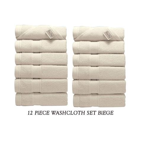 Chiara Rose 100-percent Turkish Cotton Soft and Luxurious 650 GSM 12-Piece Washcloths Set