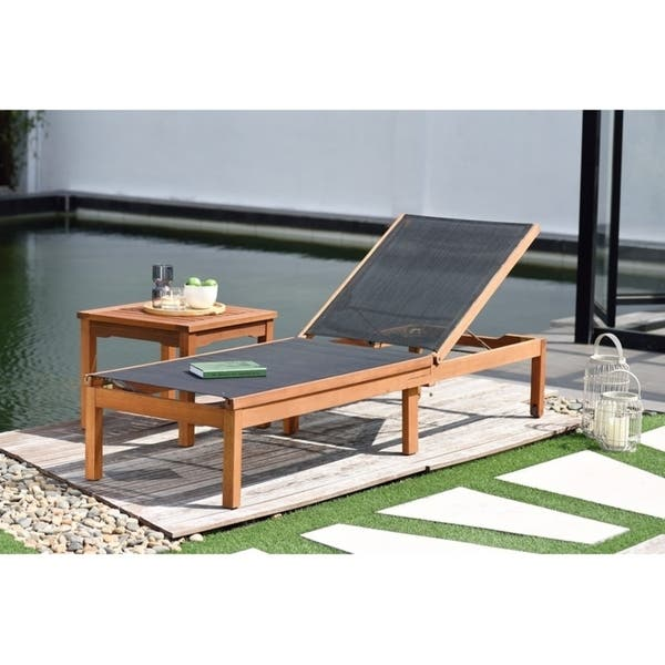 Ia Outdoor Sling Eucalyptus Chaise Lounger Perfect For Patio And Poolside Comfortable Durable