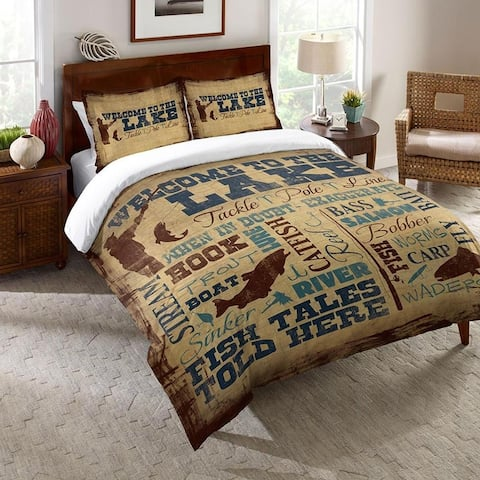 Welcome to the Lake Queen Comforter - brown;blue; beige