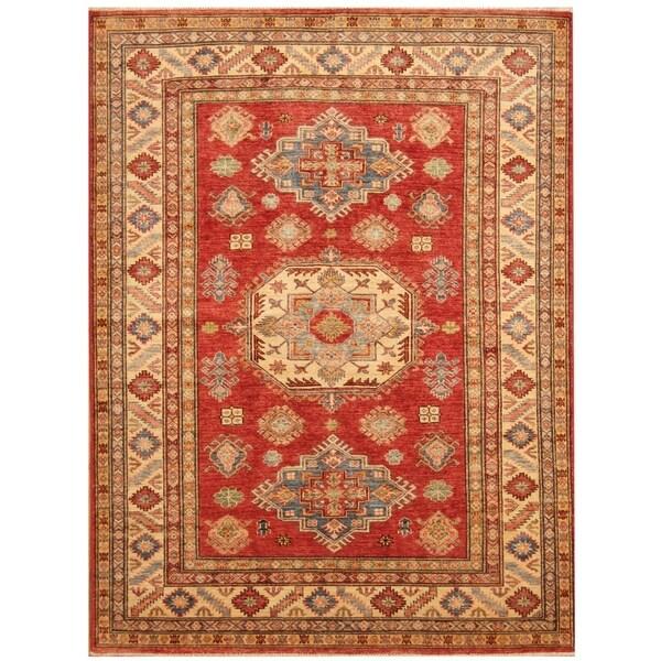Handmade Super Kazak Wool Rug (Afghanistan) - 4'10 x 6'6