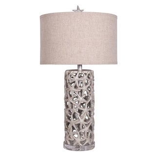 Grey Starfish Polyresin Table Lamp