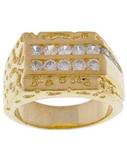 Simon Frank 14k Yellow Gold Overlay Men's CZ Ring