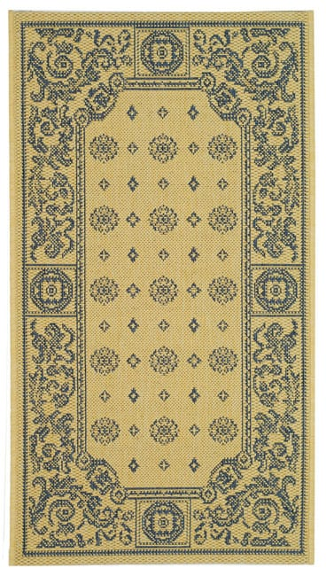 Safavieh Indoor/ Outdoor Beaches Natural/ Blue Rug (2' x 3'7)