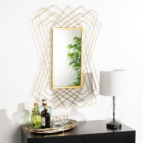 "Safavieh Hazelton Gold 25 x 36-inch Rectangle Decorative Mirror - 25"" x 1"" x 36"""