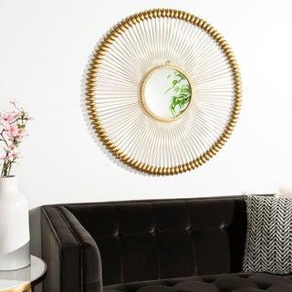 """Safavieh Abbey Gold 37-inch Round Decorative Mirror - 36.5"""" x 1"""" x 36.5"""""""