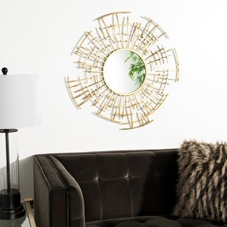 """Safavieh Barnes Gold 30-inch Round Decorative Mirror - 30"""" x 1.3"""" x 30"""""""