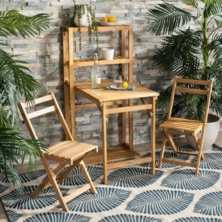 """Safavieh Outdoor Living Griffen Balcony Dining Cabinet Set - Natural - Chair: 14.9"""" x 23.3"""" x 31.9"""""""