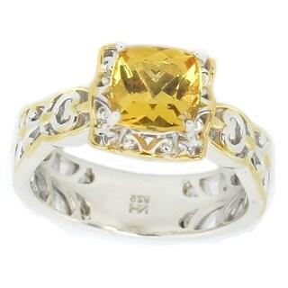 Michael Valitutti Palladium Silver Yellow Beryl Cocktail Ring