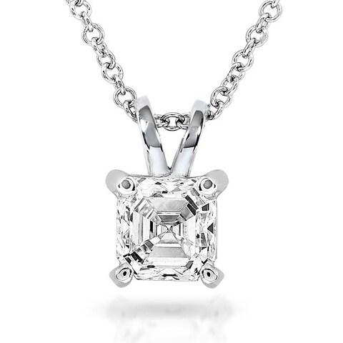 Annello by Kobelli 14k White Gold 1/4 Carat Asscher Solitaire Diamond Necklace
