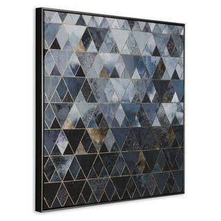 Apex Framed Canvas Print - Black/Blue/GOLD
