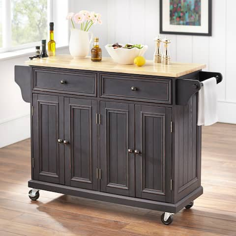 The Gray Barn Tipperary Black Finish Natural Top Kitchen Cart