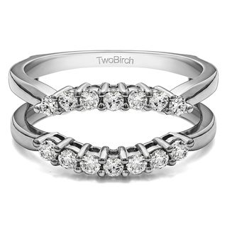50 Ct Double Shared Prong Contour Ring Guard In Solid 10k Gold Set With Moissanite