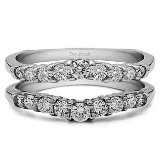 0 71 Ct Double Shared Prong Contoured Ring Guard In Solid 14k Gold Set With Moissanite