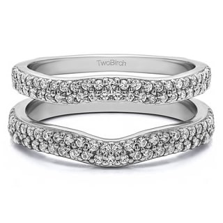 0 51 Ct Round Double Row Pave Set Curved Ring Guard In Solid Platinum Set With Moissanite