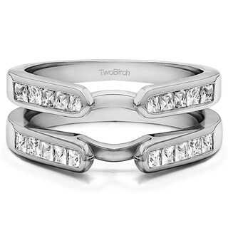 0 75 Ct Cathedral Channel Set Princess Cut Ring Guard In Solid Platinum Set With Moissanite