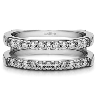 0 51 Ct Double Shared Prong Straight Ring Guard In Solid 18k Gold Set With Moissanite