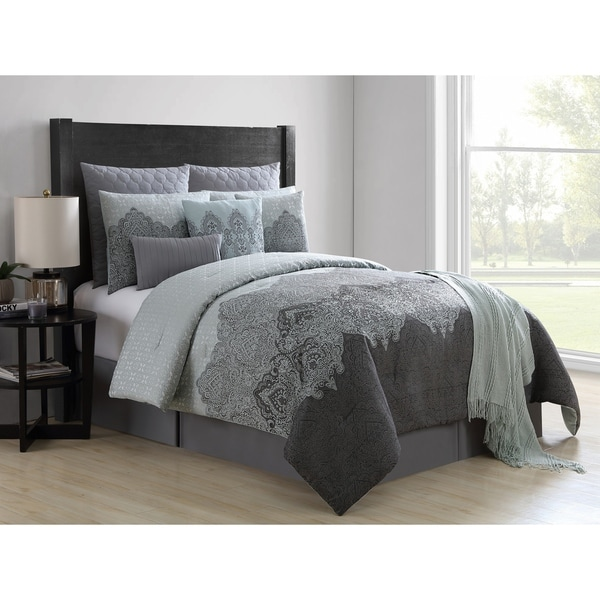 VCNY Home Matthias Grey Damask Comforter Set