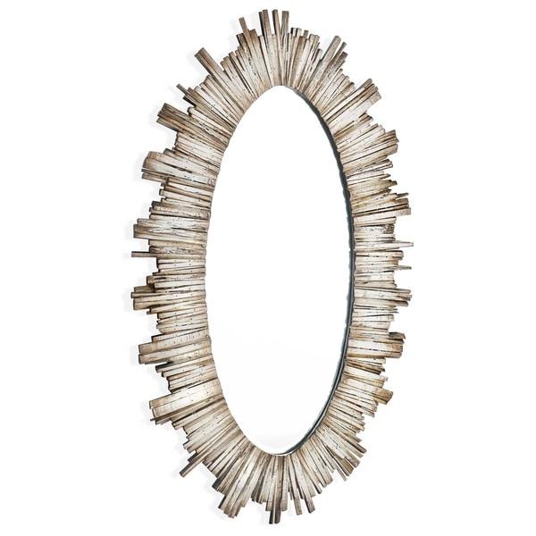 Diya Oval Wood Framed Mirror Antique White
