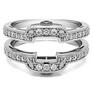 50 Ct Square Halo Peek A Boo Wedding Ring Guard In Solid Platinum Set With Moissanite