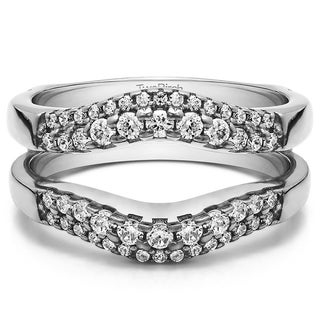 0 53 Ct Double Row Contour Ring Guard In Solid Platinum Set With Moissanite