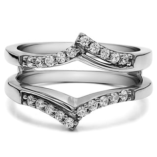 0 3 Ct Bypass Prong Set Wedding Ring Guard In Solid 18k Gold Set With Moissanite