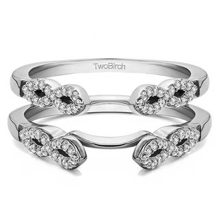 0 38 Ct Infinity Ring Guard Enhancer In Solid 14k Gold Set With Moissanite