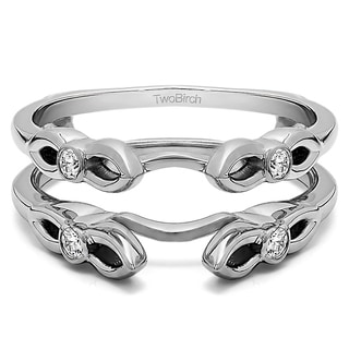 0 2 Ct Cathedral Infinity Designed Ring Guard In Solid Platinum Set With Moissanite